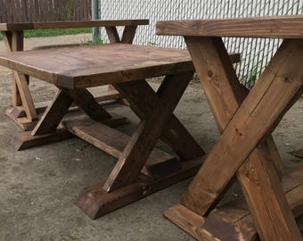 Eco Friendly Walnut Stained Wood Coffee and Side Tables with X Sides
