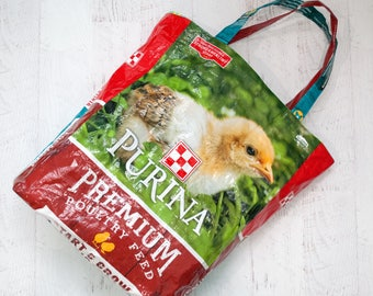 Feed Bag Upcycled - Chicken Feed Bag Tote - Grocery Bag - Reusable Shopping Bag - Market Tote - Purina Chicken Feed Bag - Beach Bag