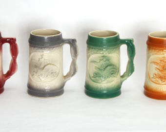 Budweiser King Of Beers Pottery Set Of 4 Handled Beer Steins Anheuser Busch USA