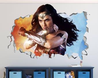 Wonder Woman Smashed 3D Wall Decal Sticker Vinyl Decor Door Window Poster Mural Movie - Broken Wall  - 3D Designs