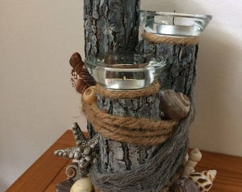 Log Candle Holder/Seashells