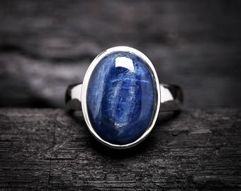 Oval Kyanite Ring Any Size | Sterling Silver Ring | Blue Color High Luster | Stunning AAA Genuine Natural Kyanite Gemstone Jewelry