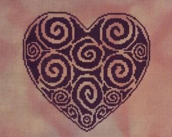 Tribal Heart Cross Stitch Chart