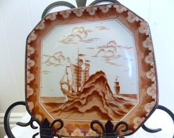 Vintage Brown & White Ship Sailing, Octagon Plate, Nautical Porcelain Plate, Sailing Ship, Clipper Ship, Japanese Art