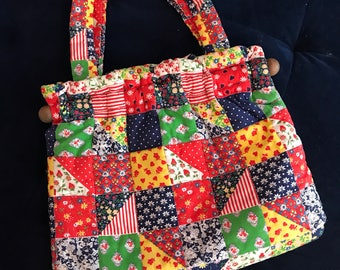 Multi color handmade quilted knitting/sewing bag.