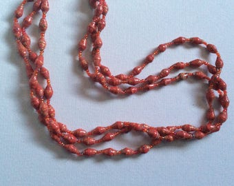 Vintage Red Rolled Paper Bead & Orange Glass Seed Beaded necklace