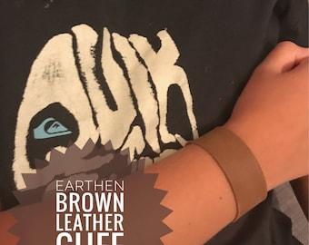 Kids Earthen Brown Leather Cuff