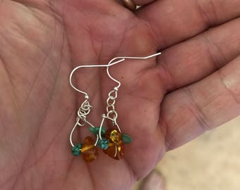 Handmade Simple Amber & Turquoise Earrings with Silver Metal
