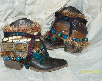 Brown and Turquoise Upcycled Boho Boot
