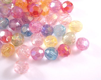 Faceted Round Beads 8mm x 250 - Iridescent Colour Mix