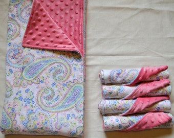 Minky Baby Blanket and Burp Cloth Set- Blue, Pink, Green Floral Paisley /  Pink Minky