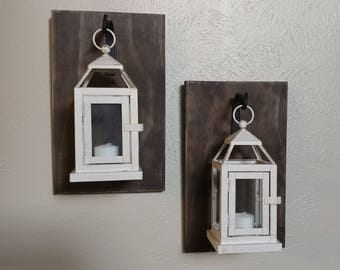 Set of Two Wooden Wall Sconces with Lanterns