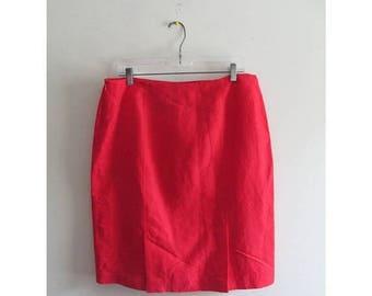 25% OFF FALL SALE Vintage 80's 1980s Kasper Bright Red High Waist Rise Linen Pencil Midi Career Straight Skirt Bottom Sz 14 Petite Large