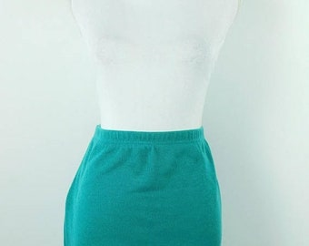 30% SPRING SALE Vintage 80's 1980s Teal Blue High Waist Elastic Stretch Sweater Straight Pencil Short Above Knee Length Skirt Sz M/L