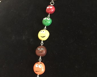 M&M inspired polymer clay necklace