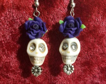 White Sugar Skull Earrings