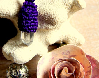 Crystal point pendant and macrame