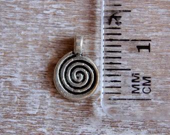 Silver metal spiral charm