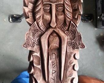 Perun face (Handmade wood carved linden barelief)