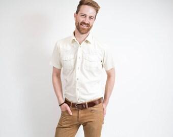 Vintage Pale Yellow Shirt / 1970's Mens Joseph Laurin Short Sleeved Medium Button up Causal Summer Shirt / Made in Korea