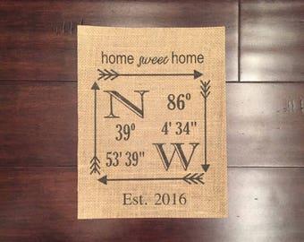 Home sweet home burlap print