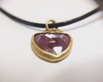 Yellow Gold Pendant with a Ruby in the rough. Handmade design