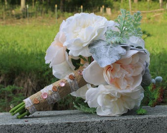 Rustc bouquet, country bouquet , White, cream and dusty Rose Boquet , pink mulberry bouquet , Bridal bouquet, white bouquet, burlap bouquet