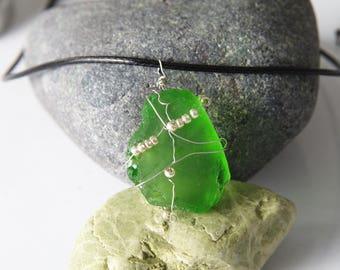 Sea glass pendant. Wired sea glass. Sea glass and beads
