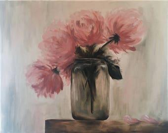 Pink Peonies in a Mason Jar - Original Oil Painting, 2017