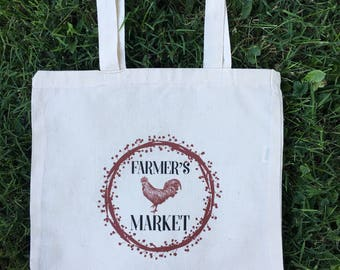 "Tote Bag , Farmer's Market Tote, Cotton Bag , Reusable Grocery Bag , Lunch Bag , Book Bag , School Bag , 100% Cotton , 15"" x 16"""