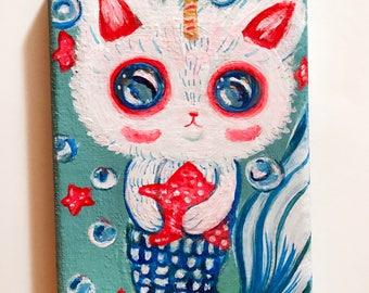 White Mer kitty corn original painting
