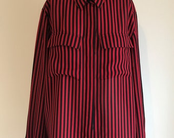 Alfred Dunner 80s Red/Black Stripped Blouse (Med/Large)