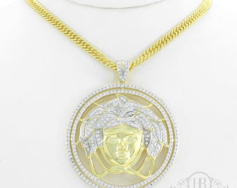 Mens 14k Gold Over Solid .925 Silver Medusa Versace 3.2ct Lab Diamond Pendant ICY