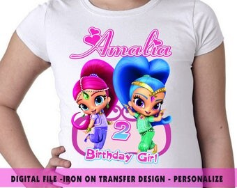 Shimmer And Shine Iron On Transfer , Shimmer And Shine Birthday Shirt DIY , Iron On Transfer , Digital File , Personalize Name And Age