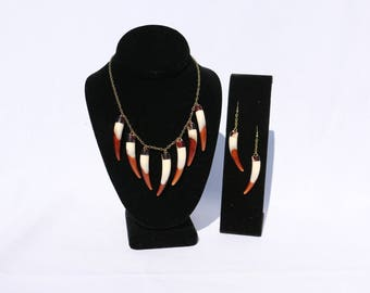 Faux bear tooth necklace and earrings set ( handmade )