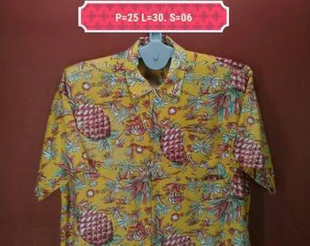 Vintage Hawaiian Shirt Break Off Shirt Floral Fullprint Shirts Orange Multi Colour Size LL Hawaiian Shirt Sun Surf Shirts Pineapple Shirts