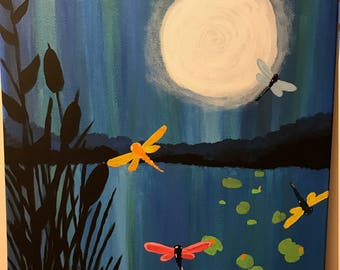 "Hand painted ""Dragonflies in the Night"" 12"" x 9"""
