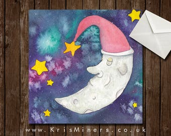 Whimsical Galaxy Moon Greetings Card - Forty Winks