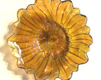 FENTON Vintage Amber Carnival Glass Flower Bowl AB