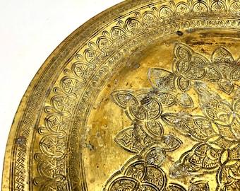 Embossed Brass Tray, Moroccan Brass Tray, Round Boho Brass Tray - Vintage