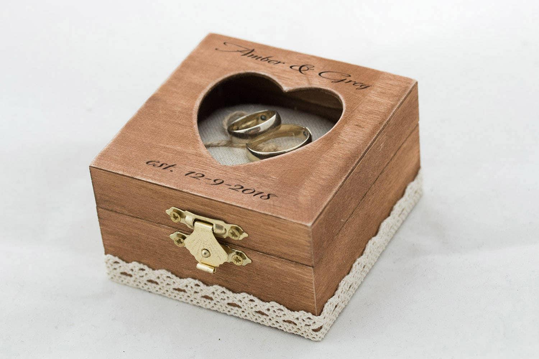 Custom wedding ring box engraved ring bearer box heart for Custom engagement ring box