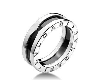 BRAND NEW! Black ceramic zero 1 band ring / 18 Platinum Gr. 17