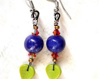 Earrings ceramic blue/green leaves / orange tops