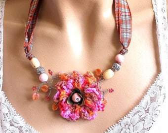 Scottish tartan and crocheted flower fabric necklace