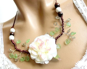 Vegetable necklace brown flowering branch