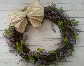 Lavender Grapevine Wreath, Spring Wreath, Farmhouse, Country Decor, Purple Wreath, Front Door Wreath, Wedding Decor, Door Wreath