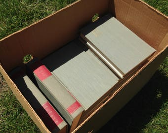 Vintage Grey and Red Bible Commentaries