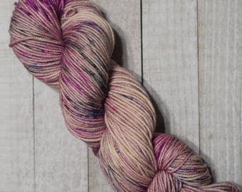 Hand-dyed, worsted weight yarn, 100% SW merino wool, 218yds, colorway *Everafter*