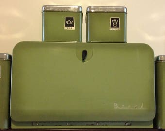 Vintage Green Kitchen Canister Set with Breadbox