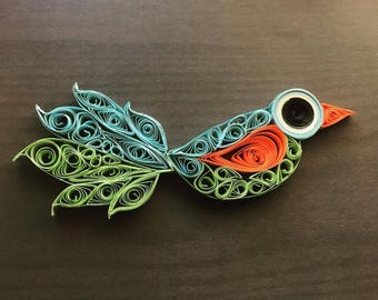 Quilled Blue and Green Bird